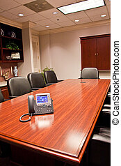 IP Phone on a conference room table