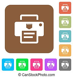 IP printer rounded square flat icons