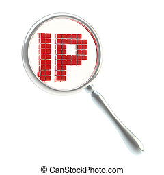 IP under the magnifier isolated - IP control under the...