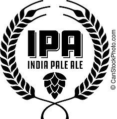ipa, emblema, ale, índia, label., pálido, ou