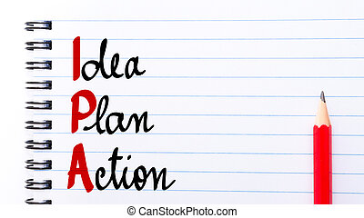 ipa, idee, geschreven, aantekenboekje, plan, actie, pagina