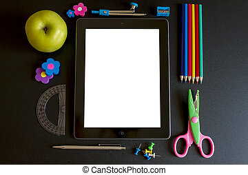Ipad 3 with school accesories on white background