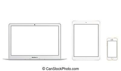 ipad, air, iphone, 5s, macbook