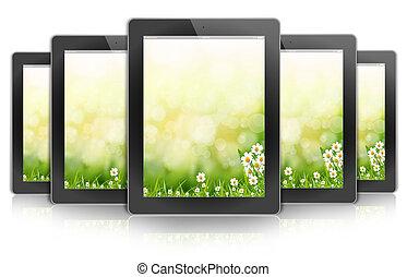 ipad, bloem, achtergrond, tablet, bokeh, ontwerp, pc, ecologic