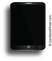 ipad, business, tablette, bouton, isolé, air, puissance, noir, blanc, semblable