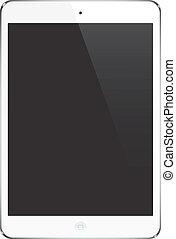 ipad, estilo, tableta, ilustración, señal, -, adminículo, iconos, almohadilla, vector., blanco