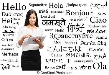 ipad, különböző, nő, felett, izbogis, fiatal, nyelvek,...