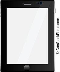 ipad, style, tablette, couleur, écran, isolé, noir, vide, toucher