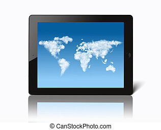 ipad with world map made of clouds on screen