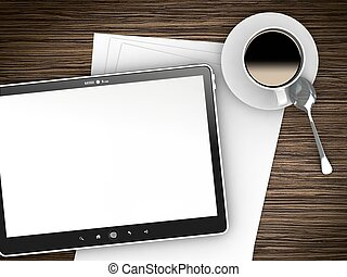 ipade, -, come, pc tavoletta, con, quaderno, penna, tazza caffè, su, lavoro, tavola.