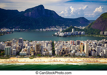 Ipanema Beach - Aerial view of buildings on the beach front...