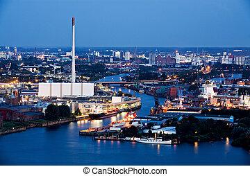 iparág, éjszaka, kikötő