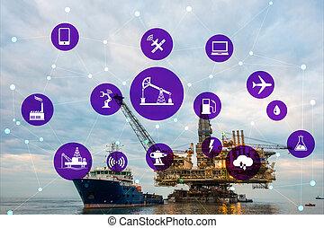 iparág, fogalom, gáz, olaj, automatizálás