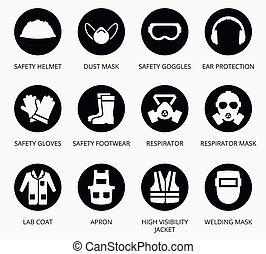 iparág, health biztonság, oltalom, felszerelés, ikonok