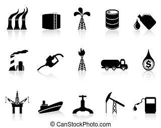 iparág, ikon, olaj
