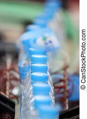iparág, ital víz, termelés, palack, egyenes