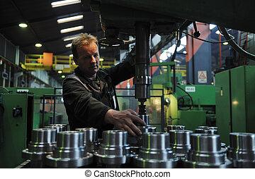 iparág, munkás, gyár, emberek