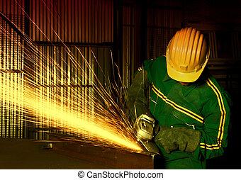 iparág, nehéz, őrlőgép, manual munkás