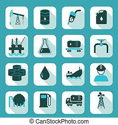 iparág, olaj, állhatatos, ikonok