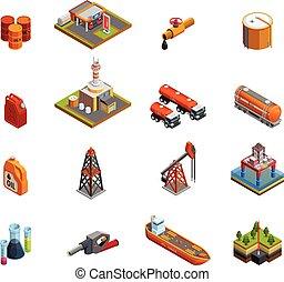 iparág, olaj, állhatatos, isometric, ikonok