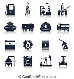 iparág, olaj, fekete, ikonok