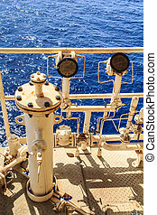 iparág, olaj, gáz, part felől
