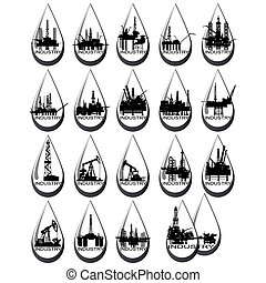 iparág, olaj, ikonok