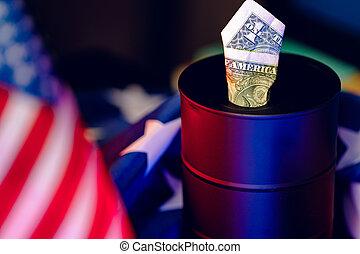 iparág, olaj puskacső, concept., dollár, amerikai, krízis