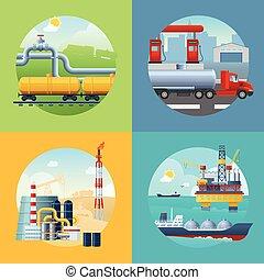 iparág, olaj, szalagcímek, zenemű