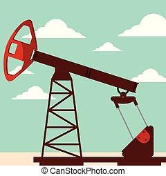 iparág, olajszivattyú, dolgozó, bubi