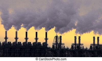 iparág, petrolkémiai, kazalba rak, dohányzik