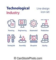 iparág, termelés, technikai, kézikönyv, cső, próba, munkás, labor, minta, ellenőrzés, egyenes, automatizált, gyűlés, minőség