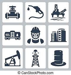 iparág, vektor, állhatatos, olaj, ikonok