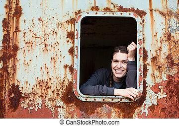 ipari, elhagyatott, facility., fiatal, ablak, woman portré