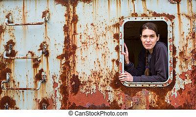 ipari, elhagyatott, fiatal, női, portré, construction.