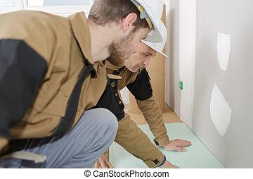 ipari, emelet, építő, munkás, beiktató, két
