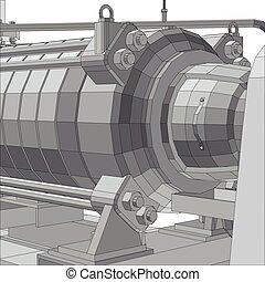 ipari, eps10, felszerelés, pump., format., wire-frame., vakolás, vektor, 3