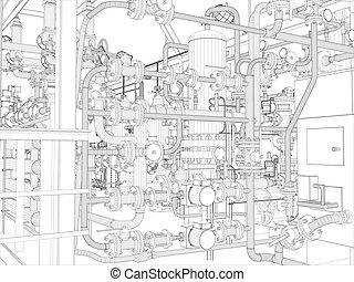 ipari, equipment., wire-frame, render