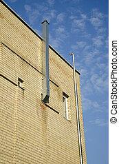 ipari, fal, épület, cső, ventiláció, új