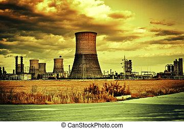 ipari, felhős, házhely, táj