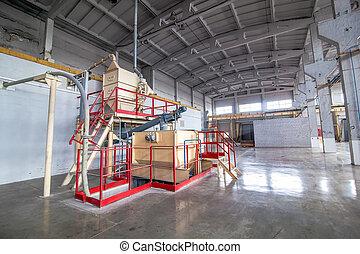 ipari felszerelés, -ban, a, gyár, alatt, egy, nagy, termelés, előszoba