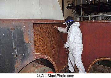 ipari, gőz, melegvíztároló, kitakarít