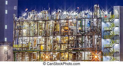 ipari, halmok, gyár, színhely, kémiai, részletek, éjszaka