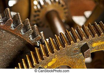 ipari, koszos, háttér, fogaskerék-áttétel