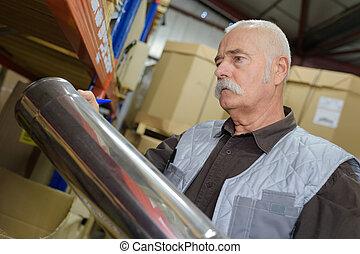 ipari, menedzser, termelés, megvizsgáló