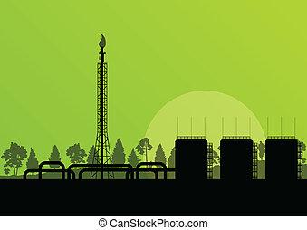 ipari, poszter, gyár, ábra, finomító, vektor, háttér, olaj, ...