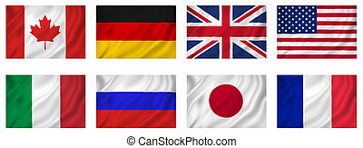 iparosított, g8, zászlók, országok