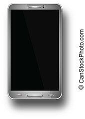 iphon., mobile, réaliste, illustration, isolé, téléphone, eps10, vecteur, écran, arrière-plan., vide, blanc