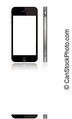 iphone, 5, con, schermo bianco