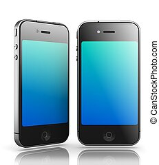 Iphone - Like Black Smartphones on White Background, 3D Render.